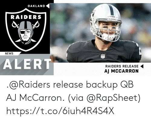 backup: OAKLAND  RAIDERS  a RAIDERS  NEWS  ALERT  RAIDERS RELEASE  AJ MCCARRON .@Raiders release backup QB AJ McCarron. (via @RapSheet) https://t.co/6iuh4R4S4X