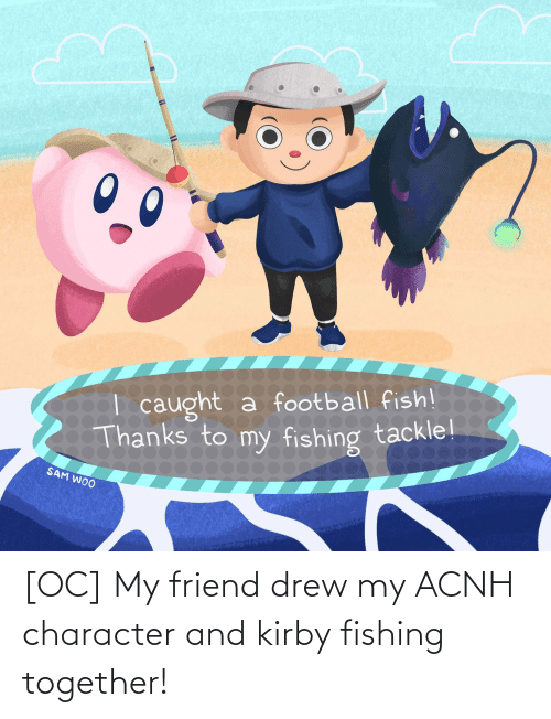 drew: [OC] My friend drew my ACNH character and kirby fishing together!