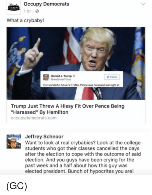 "hissy fit: occupy Democrats  1 hr.  What a crybaby!  Donald J. Trump  Our wonderful futura VP Mike Pence was harassed last night at  Trump Just Threw A Hissy Fit Over Pence Being  ""Harassed"" By Hamilton  occupy democrats.com  Jeffrey Schnoor  Want to look at real crybabies? Look at the college  students who got their classes cancelled the days  after the election to cope with the outcome of said  election. And you guys have been crying for the  past week and a half about how this guy was  elected president. Bunch of hypocrites you are! (GC)"