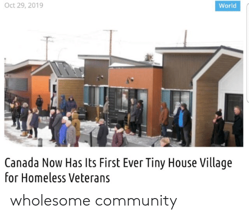 Community, Homeless, and Canada: Oct 29, 2019  World  Canada Now Has Its First Ever Tiny House Village  for Homeless Veterans wholesome community