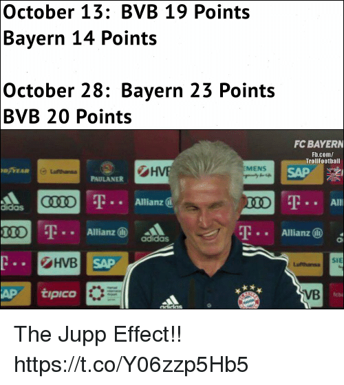allianz: October 13: BVB 19 Points  Bayern 14 Points  October 28: Bayern 23 Points  BVB 20 Points  FC BAYERN  Fb.com/  Trollfootball  HVE  D YEAR  MENS  PAULANER  T.. Allianz @  Allianz (i)  Allianz (D  adidas  HVB  AP tipico  SAP  VB  leba  cidas The Jupp Effect!! https://t.co/Y06zzp5Hb5