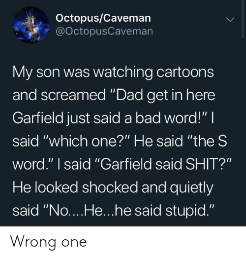 "Bad, Dad, and Shit: Octopus/Caveman  @OctopusCaveman  My son was watching cartoons  and screamed ""Dad get in here  Garfield just said a bad word!"" I  said ""which one?"" He said ""the S  word."" I said ""Garfield said SHIT?""  He looked shocked and quietly  said ""No....He...he said stupid."" Wrong one"