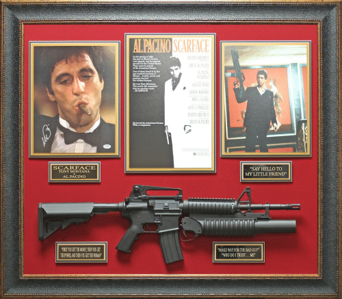 """Tony Montana: of 1980,  the port at  set sail for the United States.  They came in search  the American Dream.  One of them found it on the  Miami... wealth, power and  He was Tony Montana  The world will remember  him by another name  RIAN DE PALM  He loved the American Dream.  SCARFACE  TONY MONTANA  AL PACINO  """"SAY HELLO TO  MY LITTLE FRIEND""""  FIRST YOUGET THE MONEY,THEN YOU GET  THEPOWER,AND THEN YOU GET THE WOMAN  MAKE WAY FOR THE BAD GUY""""  WHO DO I TRUST...ME"""