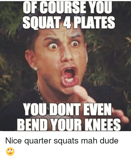 Dude, Gym, and Squat: OF COURSE YOU  SQUAT 4 PLATES  YOU DONT EVEN  BEND YOUR KNEES Nice quarter squats mah dude 🙄