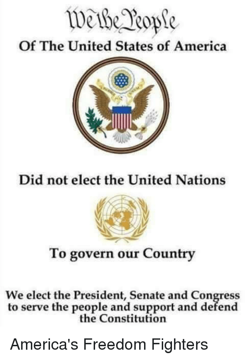 America, Memes, and Constitution: Of The United States of America  Did not elect the United Nations  To govern our Country  We elect the President, Senate and Congress  to serve the people and support and defend  the Constitution America's Freedom Fighters