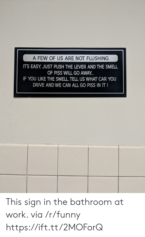 You Like The: OF US AFR  A FEW OF US ARE NOT FLUSHING  ITS EASY. JUST PUSH THE LEVER AND THE SMELL  OF PISS WILL GO AWAY  IF YOU LIKE THE SMELL,TELL US WHAT CAR YOU  DRIVE AND WE CAN ALL GO PISS IN IT This sign in the bathroom at work. via /r/funny https://ift.tt/2MOForQ