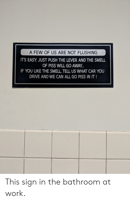 Smell, Work, and Drive: OF US AFR  A FEW OF US ARE NOT FLUSHING  ITS EASY. JUST PUSH THE LEVER AND THE SMELL  OF PISS WILL GO AWAY  IF YOU LIKE THE SMELL,TELL US WHAT CAR YOU  DRIVE AND WE CAN ALL GO PISS IN IT This sign in the bathroom at work.