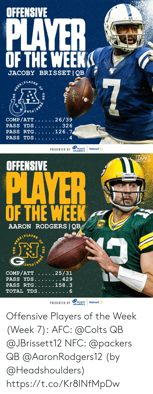 Indianapolis Colts: OFFENSIVE  PLAYER  COLTS  OF THE WEEK  JACOBY BRISSET|QB  P LAYER  7  WEEK/  COMP/ATT.  PASS YDS.  PASS RTG  PASS TDS  26/39  . .32 6  126.7  4  head&  shoulders  PRESENTED BY  Walmart  WEEK  THE  )НЕ   OFFENSIVE  PLAYER  PAUS  OF THE WEEK  AARON RODGERS QB  PLAYER  NATIONAL FOOTBALL LEAGUE  COMP/ATT  PASS YDS.  PASS RTG  TOTAL TDS  25/31  429  158.3  6  head&  shoulders  PRESENTED BY  Walmart  OF  THE  WEER/  WEEK Offensive Players of the Week (Week 7):  AFC: @Colts QB @JBrissett12 NFC: @packers QB @AaronRodgers12  (by @Headshoulders) https://t.co/Kr8INfMpDw