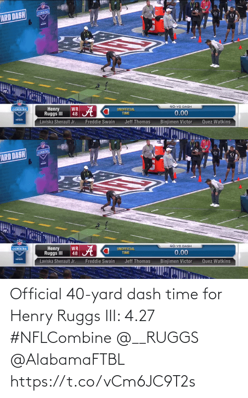 dash: Official 40-yard dash time for Henry Ruggs III: 4.27  #NFLCombine @__RUGGS @AlabamaFTBL  https://t.co/vCm6JC9T2s