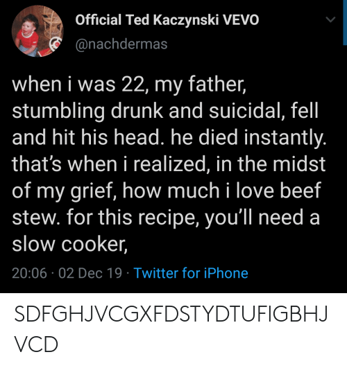 Ted: Official Ted Kaczynski VEVO  @nachdermas  when i was 22, my father,  stumbling drunk and suicidal, fel  and hit his head. he died instantly.  that's when i realized, in the midst  of my grief, how much i love beef  stew. for this recipe, you'll need a  slow cooker,  20:06 02 Dec 19 Twitter for iPhone SDFGHJVCGXFDSTYDTUFIGBHJVCD