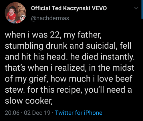 Ted: Official Ted Kaczynski VEVO  @nachdermas  when i was 22, my father,  stumbling drunk and suicidal, fel  and hit his head. he died instantly.  that's when i realized, in the midst  of my grief, how much i love beef  stew. for this recipe, you'll need a  slow cooker,  20:06 02 Dec 19 Twitter for iPhone
