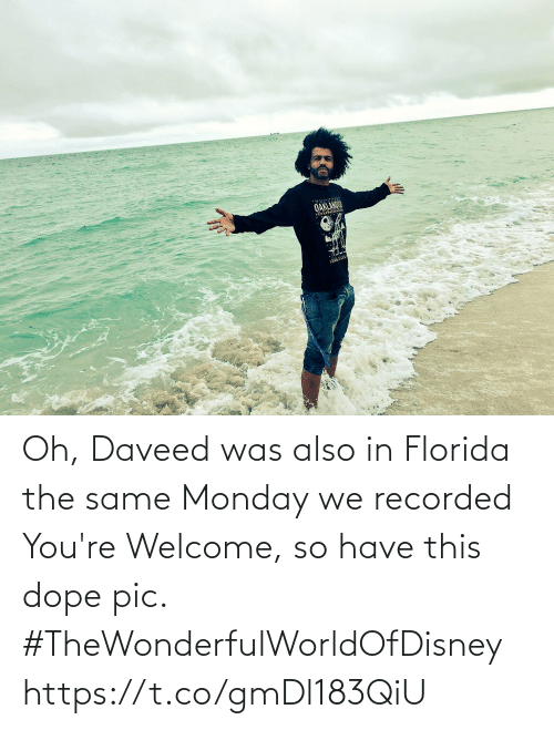 youre: Oh, Daveed was also in Florida the same Monday we recorded You're Welcome, so have this dope pic. #TheWonderfulWorldOfDisney https://t.co/gmDl183QiU