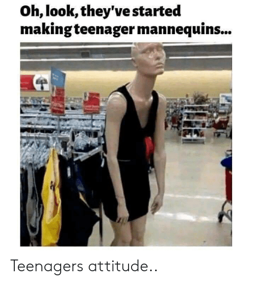 Oh Look: Oh, look, they've started  making teenager mannequins... Teenagers attitude..