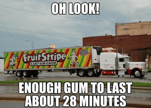 Oh Look: OH LOOK!  THROW  Fruit Stripe  5 JUICY GUM FLAVORS  ENOUGH GUM TO LAST  ABOUT 28 MINUTES