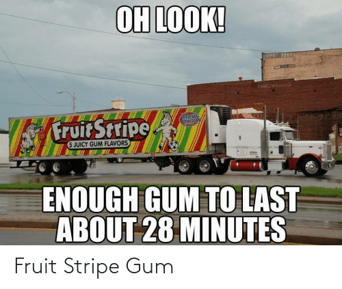 Oh Look: OH LOOK!  THROWBAC  CANT  Fruit Stripe  SATHERSS  5 JUICY GUM FLAVORS  ENOUGH GUM TO LAST  ABOUT 28 MINUTES Fruit Stripe Gum