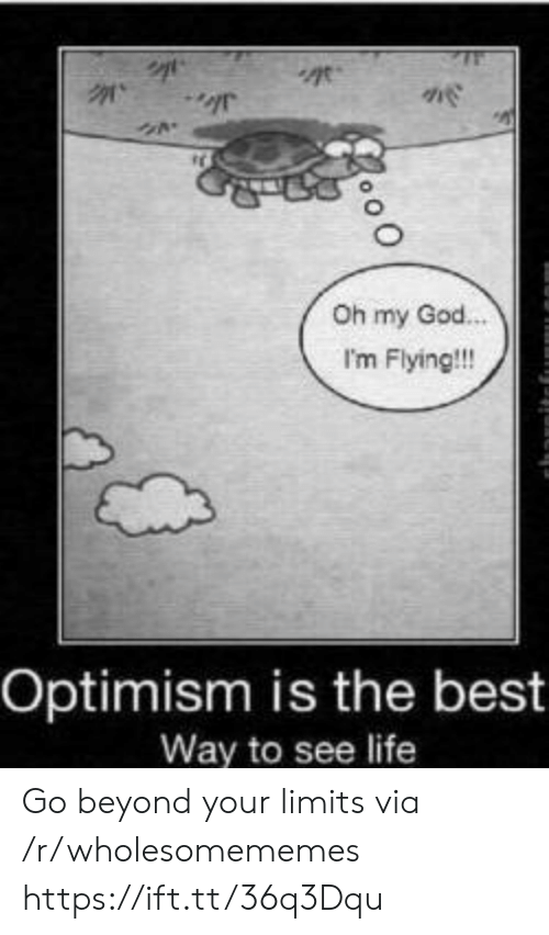 Flying: Oh my God.  I'm Flying!!!  Optimism is the best  Way to see life Go beyond your limits via /r/wholesomememes https://ift.tt/36q3Dqu