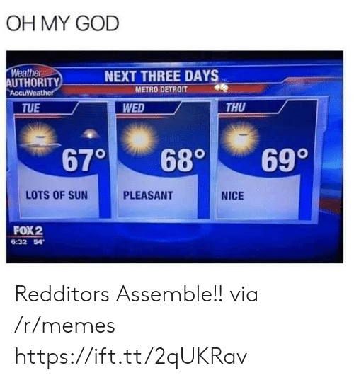 Wed: OH MY GOD  Weather  AUTHORITY  AccuWeather  NEXT THREE DAYS  METRO DETROIT  WED  THU  TUE  670  699  680  LOTS OF SUN  PLEASANT  NICE  FOX2  6:32 54 Redditors Assemble!! via /r/memes https://ift.tt/2qUKRav