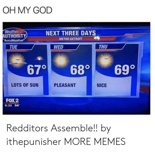 Authority: OH MY GOD  Weather  AUTHORITY  AccuWeather  NEXT THREE DAYS  METRO DETROIT  WED  THU  TUE  670  699  680  LOTS OF SUN  PLEASANT  NICE  FOX2  6:32 54 Redditors Assemble!! by ithepunisher MORE MEMES