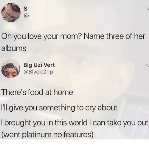 Food, Love, and Relationships: Oh you love your mom? Name three of her  albums  Big Uzi Vert  @BlvckGrip  There's food at home  I'll give you something to cry about  I brought you in this world I can take you out  (went platinum no features)