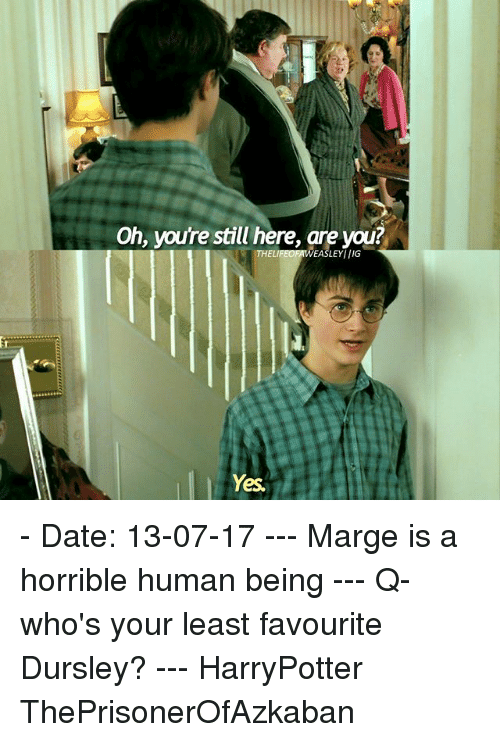 Memes, Date, and 🤖: Oh, youre still here, are you  LEYIIIG  Yes - Date: 13-07-17 --- Marge is a horrible human being --- Q- who's your least favourite Dursley? --- HarryPotter ThePrisonerOfAzkaban