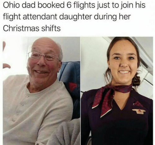 Flight Attendant: Ohio dad booked 6 flights just to join his  flight attendant daughter during her  Christmas shifts
