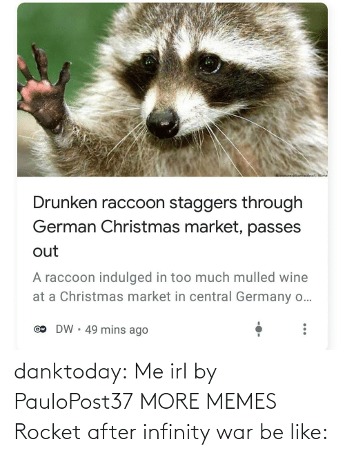 market: oictureNnwidoa/ Klime  Drunken raccoon staggers through  German Christmas market, passes  out  A raccoon indulged in too much mulled wine  at a Christmas market in central Germany o...  DW • 49 mins ago  Ow danktoday:  Me irl by PauloPost37 MORE MEMES  Rocket after infinity war be like: