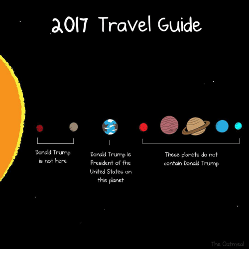 Memes, Planets, and Travel: OIT Travel Guide  Donald Trump  Donald Trump is  These planets do not  is not here  president of the  contain Donald Trump  United States on  this planet  The Oatmeal
