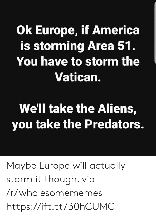 America, Aliens, and Europe: Ok Europe, if America  is storming Area 51.  You have to storm the  Vatican.  We'll take the Aliens,  you take the Predators. Maybe Europe will actually storm it though. via /r/wholesomememes https://ift.tt/30hCUMC