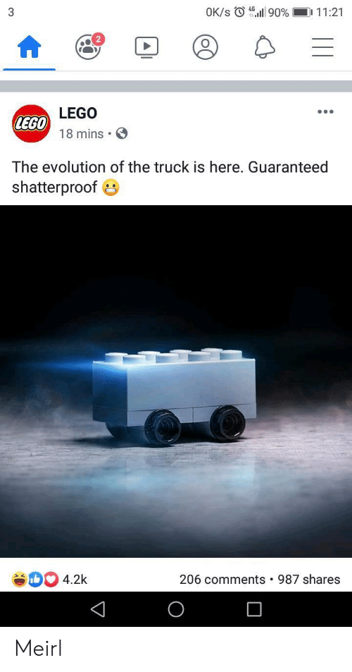Evolution Of: OK/s 90 %  D 11:21  3  LEGO  LEGO  18 mins  The evolution of the truck is here. Guaranteed  shatterproof  4.2k  206 comments  987 shares Meirl