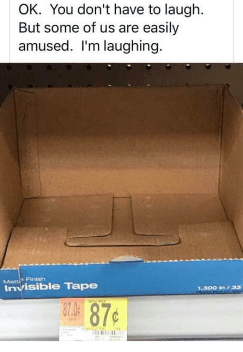 Dank, 🤖, and You: OK. You don't have to laugh.  But some of us are easily  amused. I'm laughing.  Finish  Matti  Invisible Tape  1.300 in33  07.0  87