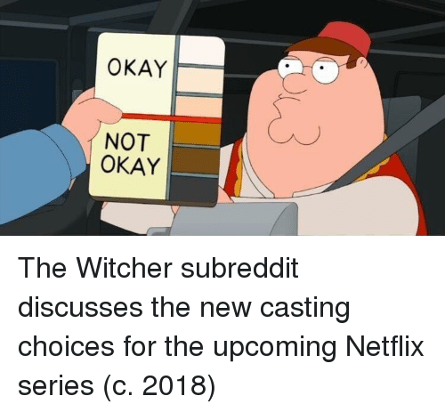the witcher: OKAY  NOT  OKAY The Witcher subreddit discusses the new casting choices for the upcoming Netflix series (c. 2018)