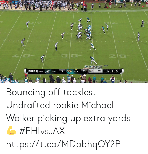 phi: OLADE  10  7  JAGUARS.cOM  2ND  1:32  1ST & 10  JAX  PHI Bouncing off tackles.  Undrafted rookie Michael Walker picking up extra yards 💪  #PHIvsJAX https://t.co/MDpbhqOY2P