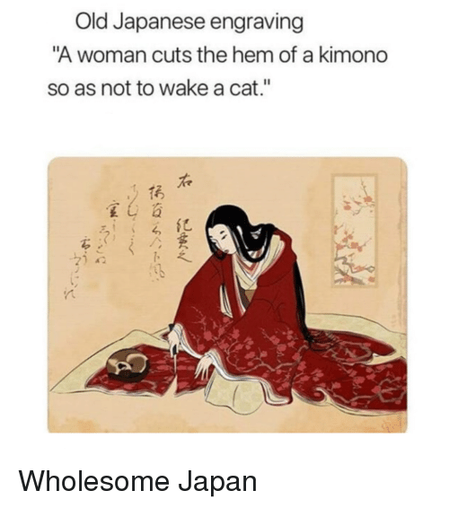 """Japan, Japanese, and Old: Old Japanese engraving  A woman cuts the hem of a kimono  so as not to wake a cat.""""  右  亿 Wholesome Japan"""
