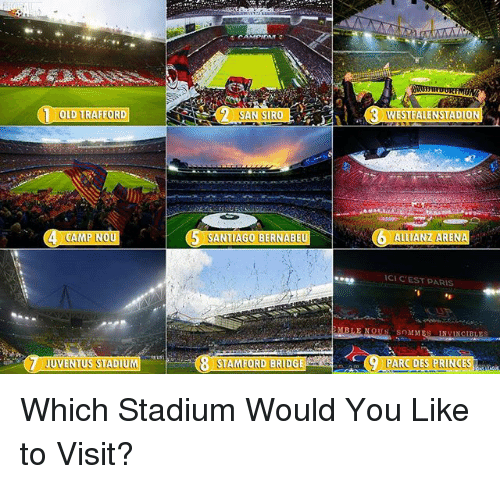 allianz: OLD TRAFFORD y SAN SIRO  S SANTIAGO BERNABEU  CAMP NOU  JUVENTUSSTADIUL  STAMFORD BRIDGE  MB  WESTFALENSTADION  ALLIANZ ARENA  ICIC EST PARIS  NOUS SnMM  BLES  9 PARC DES FRINCESI Which Stadium Would You Like to Visit?
