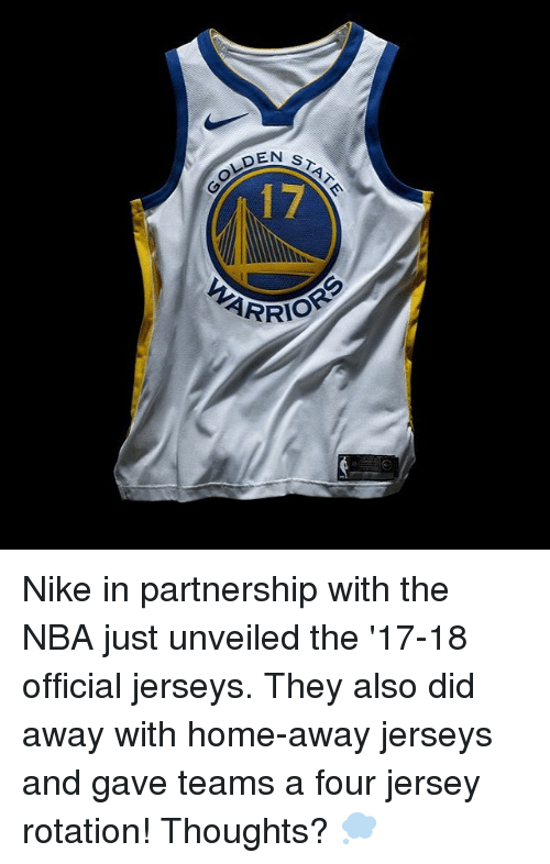 Home Away: OLDEN  DEN S  STAT  17 Nike in partnership with the NBA just unveiled the '17-18 official jerseys. They also did away with home-away jerseys and gave teams a four jersey rotation! Thoughts? 💭