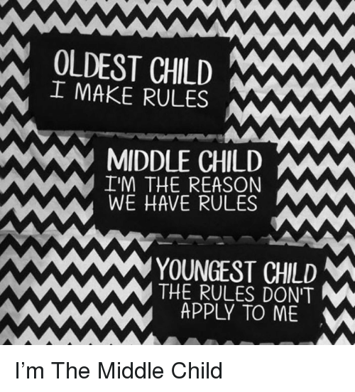 middle child: OLDEST CHILD  IMAKE RULES  MIDDLE CHILDW  IM THE REASON  WE HAVE RULES  YOUNGEST CHLD  THE RULES DON'T  APPLY TO ME <p>I'm The Middle Child</p>
