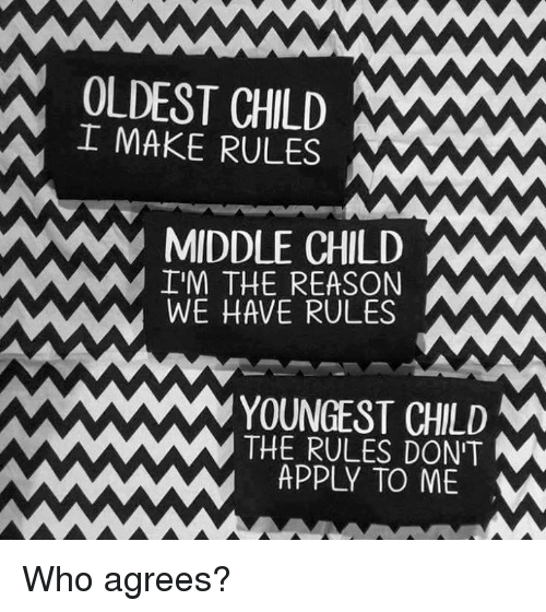 Oldest Child: OLDEST CHILD MANAW  I MAKE RULES  MIDDLE CHILD  IM THE REASON  WE HAVE RULES  YOUNGEST CHILD  M  THE RULES DON'T  M  APPLY TO ME  w Who agrees?