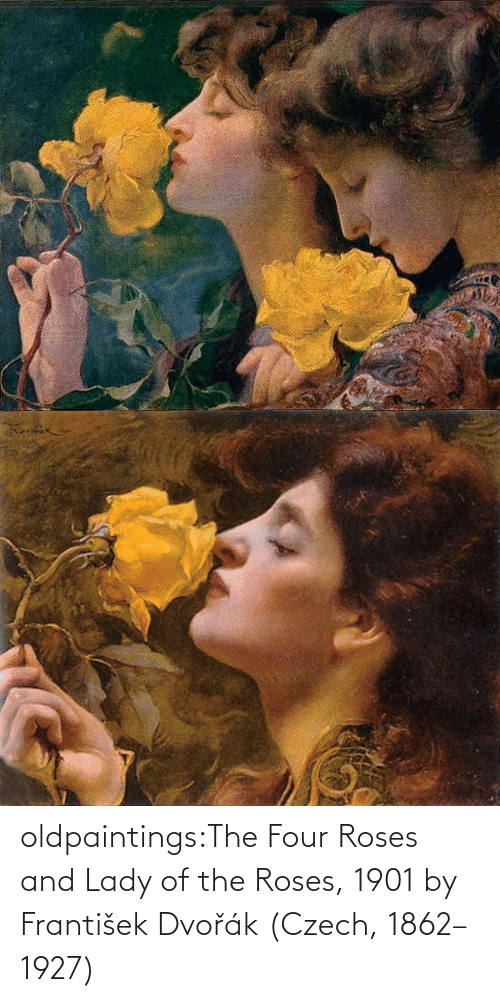 roses: oldpaintings:The Four Roses and Lady of the Roses, 1901 by František Dvořák (Czech, 1862–1927)