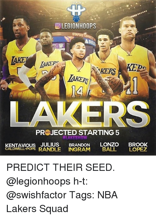 poped: OLEGIONHOOPS  TAKERS  KERA  KERS  LAKER  IAKERS  4  PRWJECTED STARTING5  LAKESHOw  KENTAVIous JULIUS BRANDON LONZO BROOK  CALDWELL-POPE RANDLE INGRAM BALL LOPEZ PREDICT THEIR SEED. @legionhoops h-t: @swishfactor Tags: NBA Lakers Squad