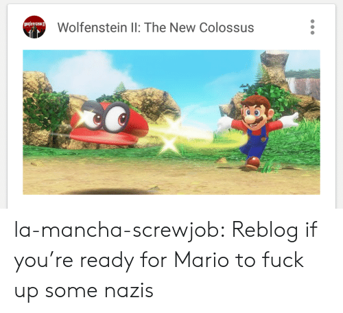 Tumblr, Mario, and Blog: Olfensiein  Wolfenstein ll: The New Colossus la-mancha-screwjob:  Reblog if you're ready for Mario to fuck up some nazis