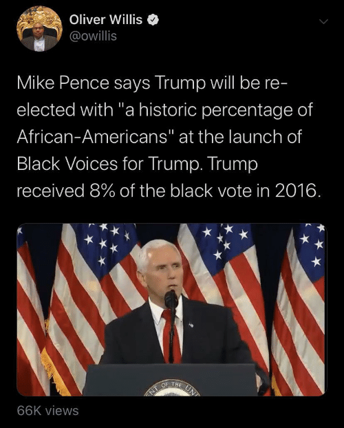 "In 2016: Oliver Willis  @owillis  Mike Pence says Trump will be re-  elected with ""a historic percentage of  African-Americans"" at the launch of  Black Voices for Trump. Trump  received 8% of the black vote in 2016.  UN  OF THE  NT  66K views"