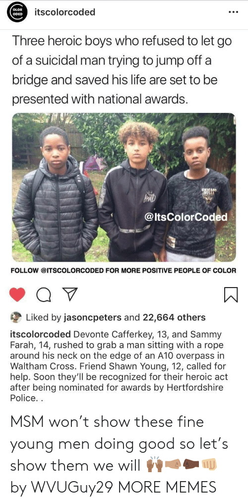 Dank, Life, and Memes: OLOR  ODED  itscolorcoded  Three heroic boys who refused to let go  of a suicidal man trying to jump off a  bridge and saved his life are set to be  presented with national awards.  @ltsColorCoded  FOLLOW @ITSCOLORCODED FOR MORE POSITIVE PEOPLE OF COLOR  Liked by jasoncpeters and 22,664 others  itscolorcoded Devonte Cafferkey, 13, and Sammy  Farah, 14, rushed to grab a man sitting with a rope  around his neck on the edge of an A10 overpass in  Waltham Cross. Friend Shawn Young, 12, called for  help. Soon they'll be recognized for their heroic act  after being nominated for awards by Hertfordshire  Police. MSM won't show these fine young men doing good so let's show them we will 🙌🏾🤜🏽🤛🏿👊🏼 by WVUGuy29 MORE MEMES