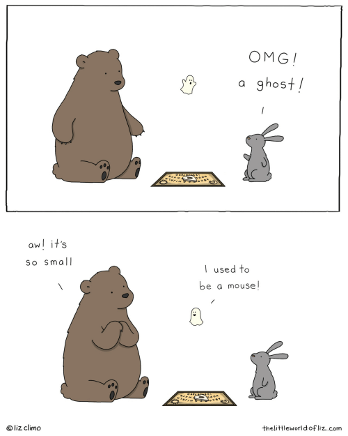 Liz Climo: OMG!  ghost  a  /  ০६৪८9  poow  aw! it's  So Small  I used to  be a mouse!  ০६८9 ८।  baon  7C  liz climo  thelittleworld ofliz.com