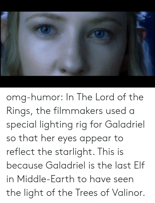 Elf, Omg, and The Lord of the Rings: omg-humor:  In The Lord of the Rings, the filmmakers used a special lighting rig for Galadriel so that her eyes appear to reflect the starlight. This is because Galadriel is the last Elf in Middle-Earth to have seen the light of the Trees of Valinor.