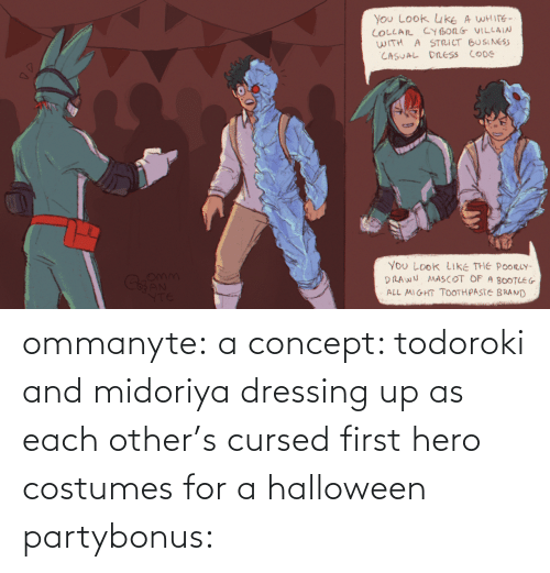 hero: ommanyte:  a concept: todoroki and midoriya dressing up as each other's cursed first hero costumes for a halloween partybonus: