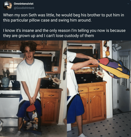 particular: Omnintensivist  @GoodishIntent  When my son Seth was little, he would beg his brother to put him in  this particular pillow case and swing him around.  I know it's insane and the only reason I'm telling you now is because  they are grown up and I can't lose custody of them  O