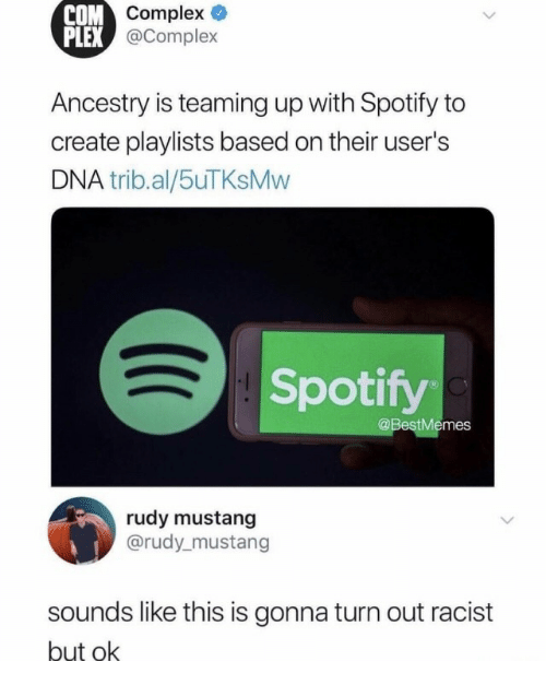 Complex, Spotify, and Ancestry: ompex  @Complex  COM  PLEX  Ancestry is teaming up with Spotify to  create playlists based on their user's  DNA trib.al/5uTKsMvw  Spotify  @BestMemes  rudy mustang  @rudy_mustang  sounds like this is gonna turn out racist  but ok