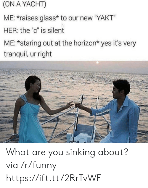 "sinking: (ON A YACHT)  ME: raises glass* to our new ""YAKT""  HER: the ""c"" is silent  ME: *staring out at the horizon* yes it's very  tranquil, ur right  keBen  83 What are you sinking about? via /r/funny https://ift.tt/2RrTvWF"