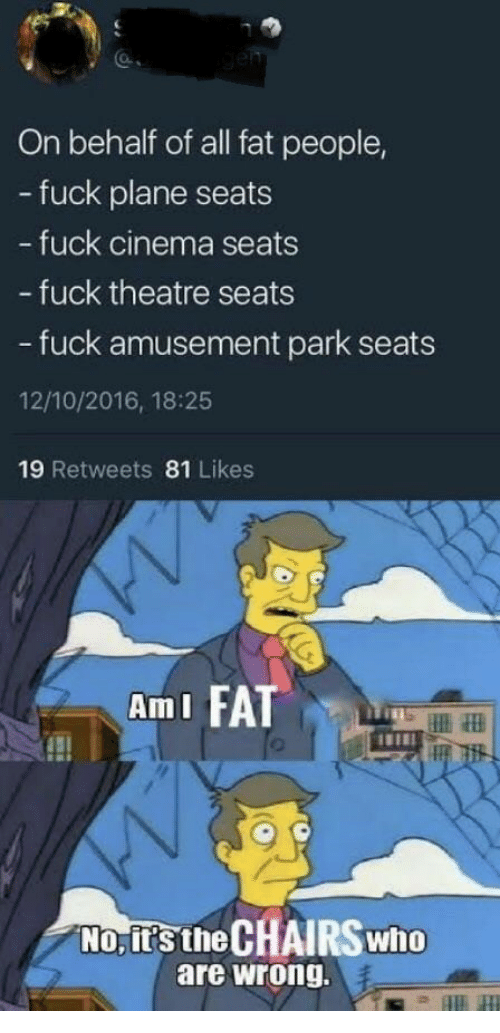 Fuck, Fat, and Theatre: On behalf of all fat people,  - fuck plane seats  fuck cinema seats  - fuck theatre seats  - fuck amusement park seats  12/10/2016, 18:25  19 Retweets 81 Likes  AmI FA  No, it's the CHAIRS who  are wrong.