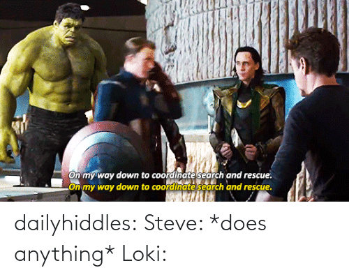 Down To: On my way down to coordinate search and rescue.  LOn my way down to coordinate search and rescue. dailyhiddles:  Steve: *does anything* Loki: